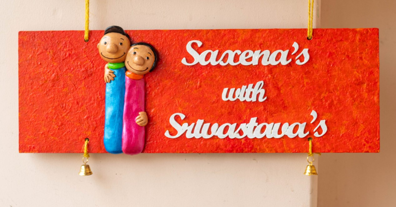 Customized colourful couple themed nameplate  Customized colourful couple themed nameplate