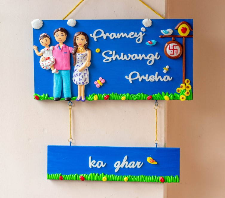 Customized family themed nameplate with a hanging plate  Customized family themed nameplate with a hanging plate