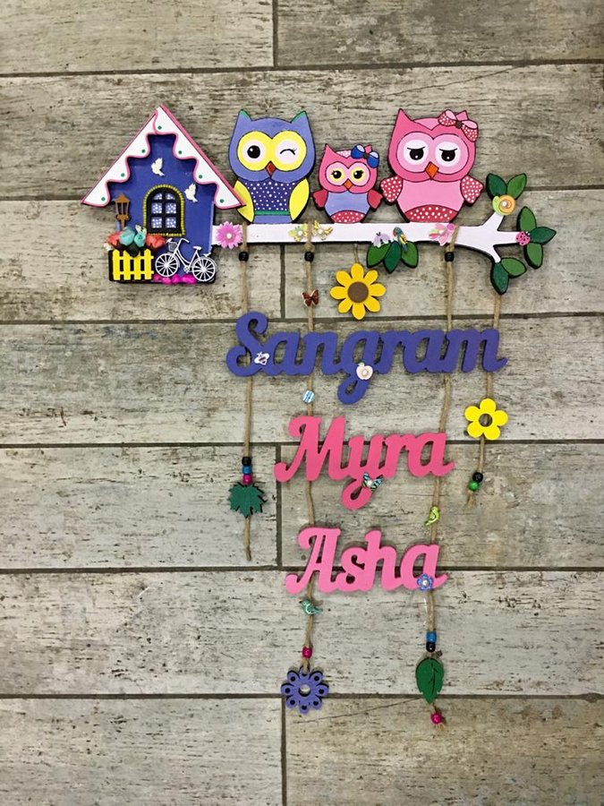 Cute Owl Designer Name Plates for Family with Kids  Nameplate design