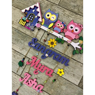 Cute Owl Designer Name Plates for Family with Kids