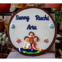 Cute family themed nameplate on wooden log