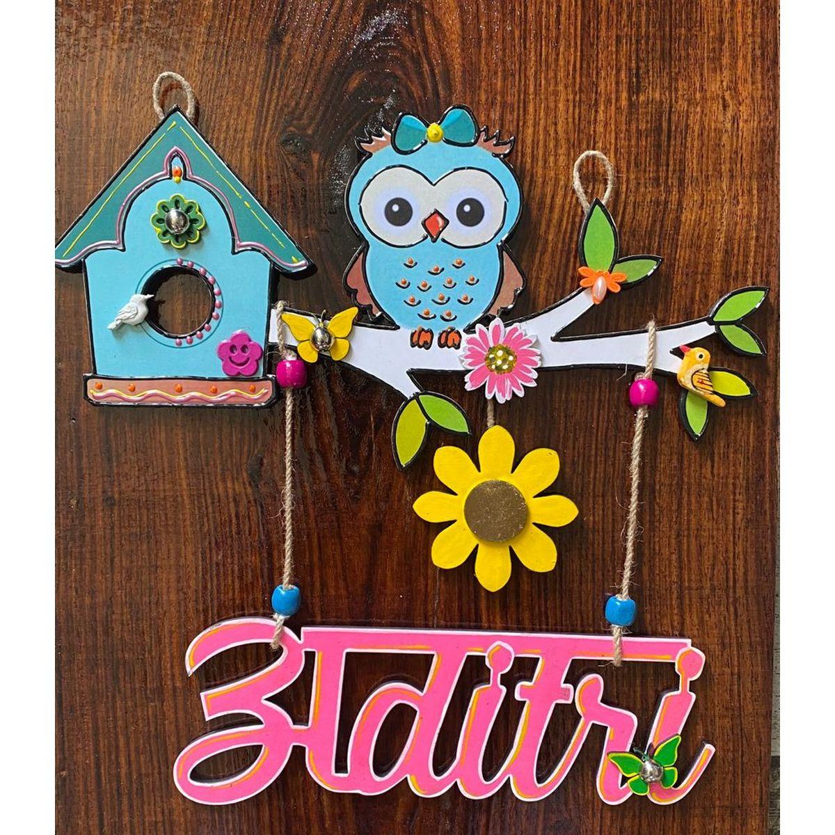 Cute Owl Nameplate For Girls  Cute owl nameplate for girls