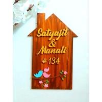 Customized hut shaped wooden nameplate