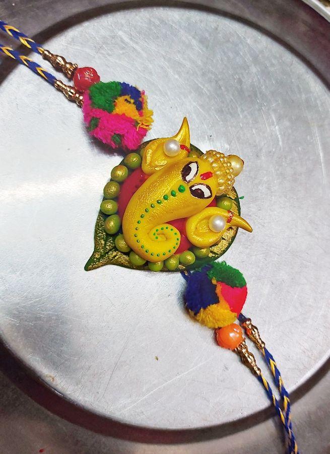 Designer Customized Ganesha Rakhi For Your Brother  customizedganesharakhi