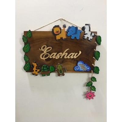 Kids Birth Capture Engraved Wooden Nameplate  Eashav kids birth capture wooden nameplate