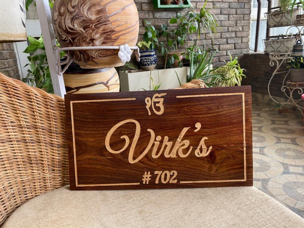 Customized Sheesham Wood Engraved Nameplate  Engraved Nameplate
