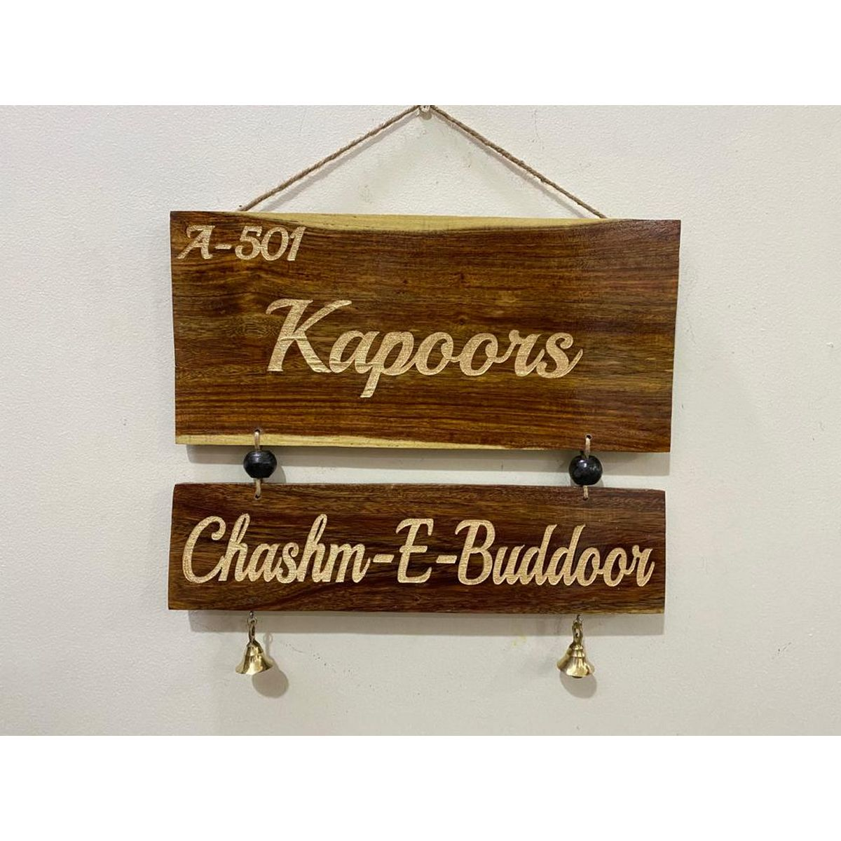 Engraved Two Tier Sheesham Wood Name Plate  Engraved Sheesham Wood Name Plate