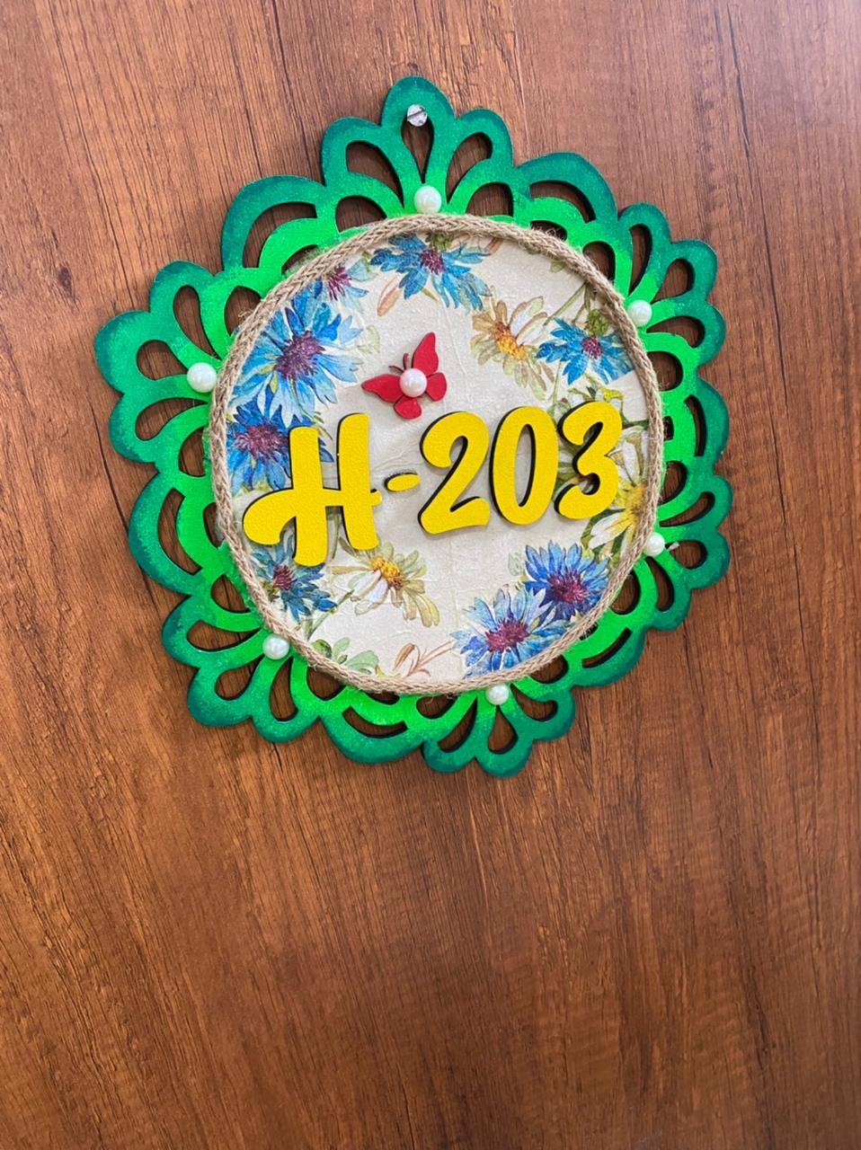 Floral Number Plate for Door
