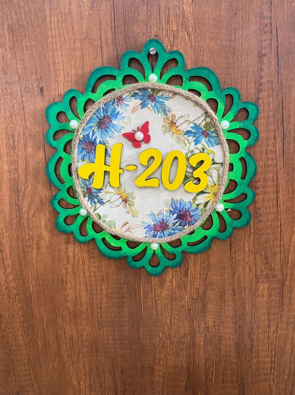 Floral Number Plate for Door  Door Number Plate