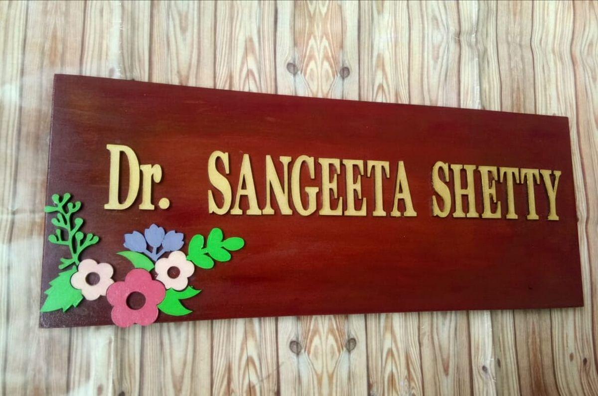 Floral Nameplate For Doctors  Floral nameplate