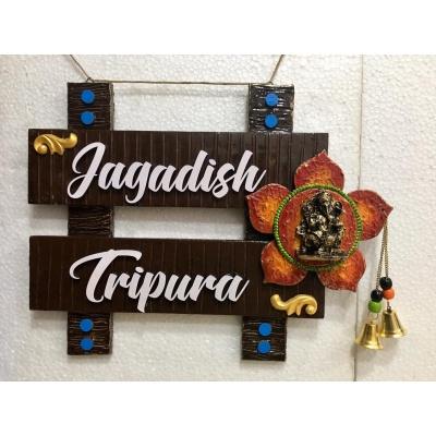 Beautiful Big Flower and Ganesha Wooden Nameplate  Ganesha Wood Nameplate