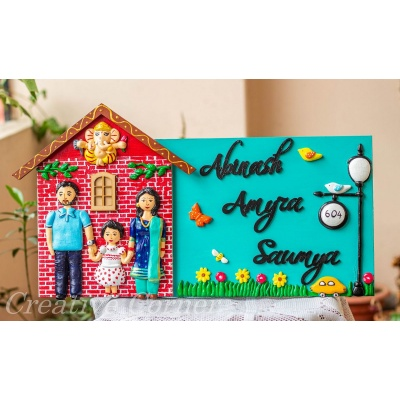 Customized Handmade Hut Shaped Ganesha Themed Family Nameplate  Family nameplate design