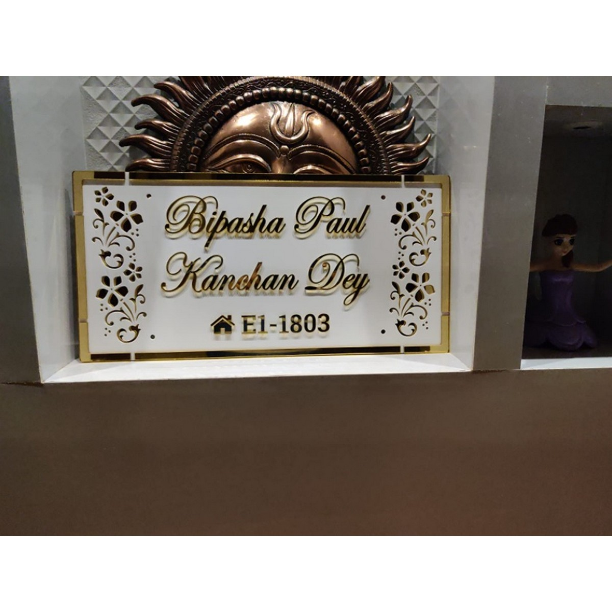 Golden Acrylic Embossed Letters Customized House Name Plate  Golden Acrylic Embossed Letters House Name Plate 2