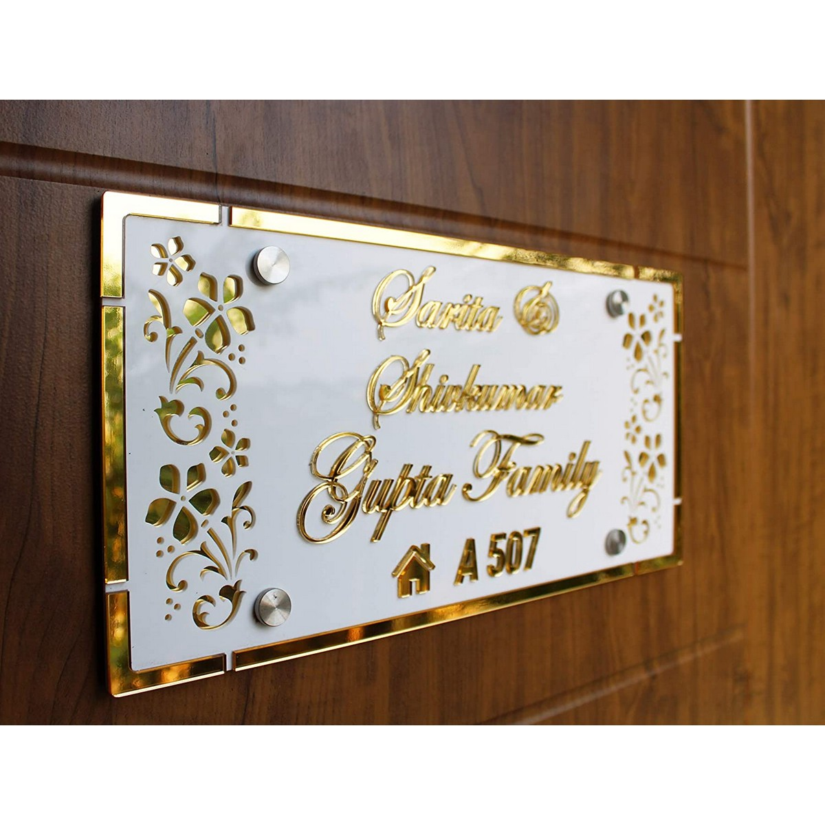Golden Acrylic Embossed Letters Customized House Name Plate  Golden Acrylic Embossed Letters House Name Plate 3