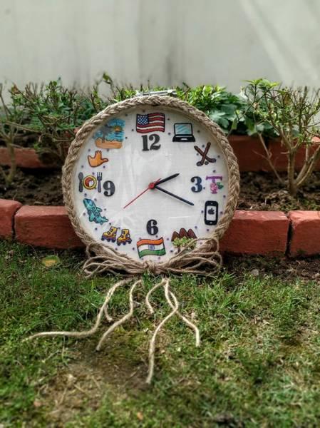 Hand Embroidered Framed Clocks  Hand Embroidered Framed Clocks001