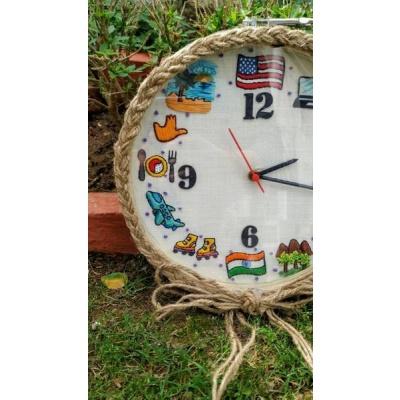 Hand Embroidered Framed Clocks  Hand Embroidered Framed Clocks003