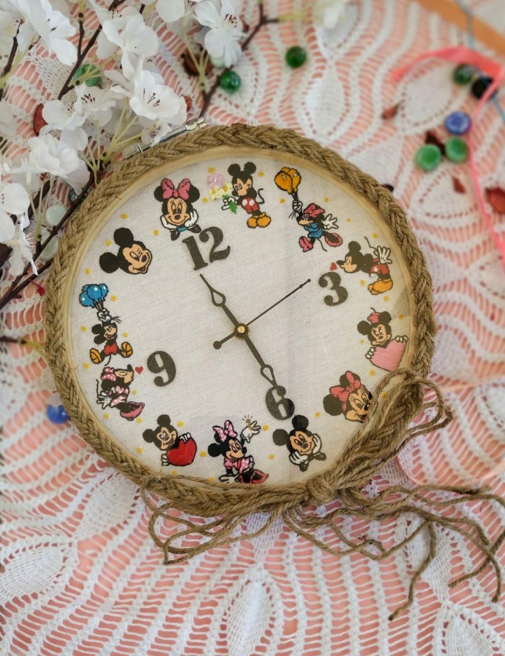 Hand Embroidered Framed Clocks  Mickey Minnie  Hand Embroidered Framed Clocks  Mickey Minnie1