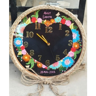Hand Embroidered Theme Framed Clocks  Love Theme