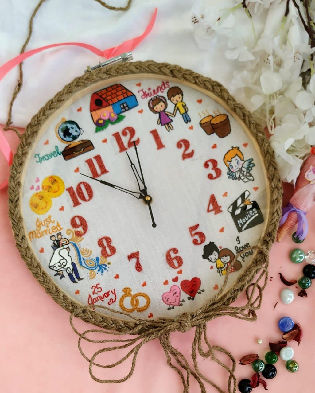 Hand Embroidered Theme Framed Clocks  Love Theme  Hand Embroidered Theme Framed Clocks  Love Theme2