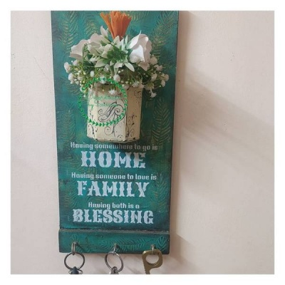 Hand Made Key Chain Holder with a Glass Vase  Hand Made Key Holder with a Glass Vase001