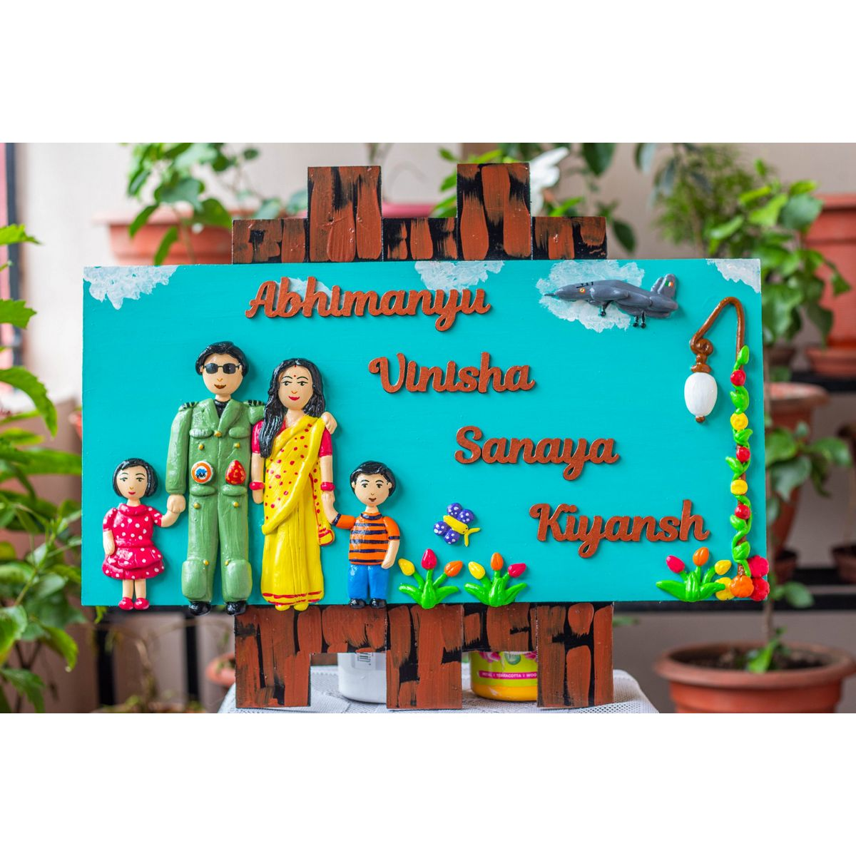 Handcrafted Aviation Themed Family Nameplate