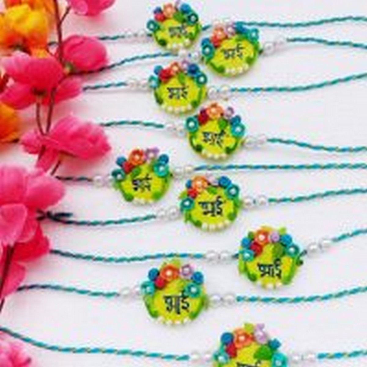 Handmade Customize Flower Rakhi For Your Brother  Handmade customize flower rakhi for your brother rate each rakhi