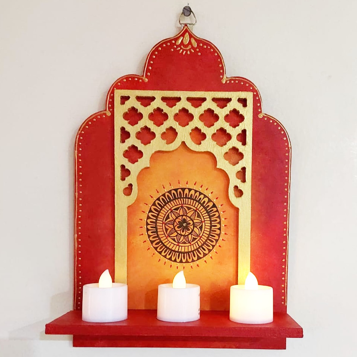 Beautiful Handpainted Jharokha Style Tea Light Candle Holder