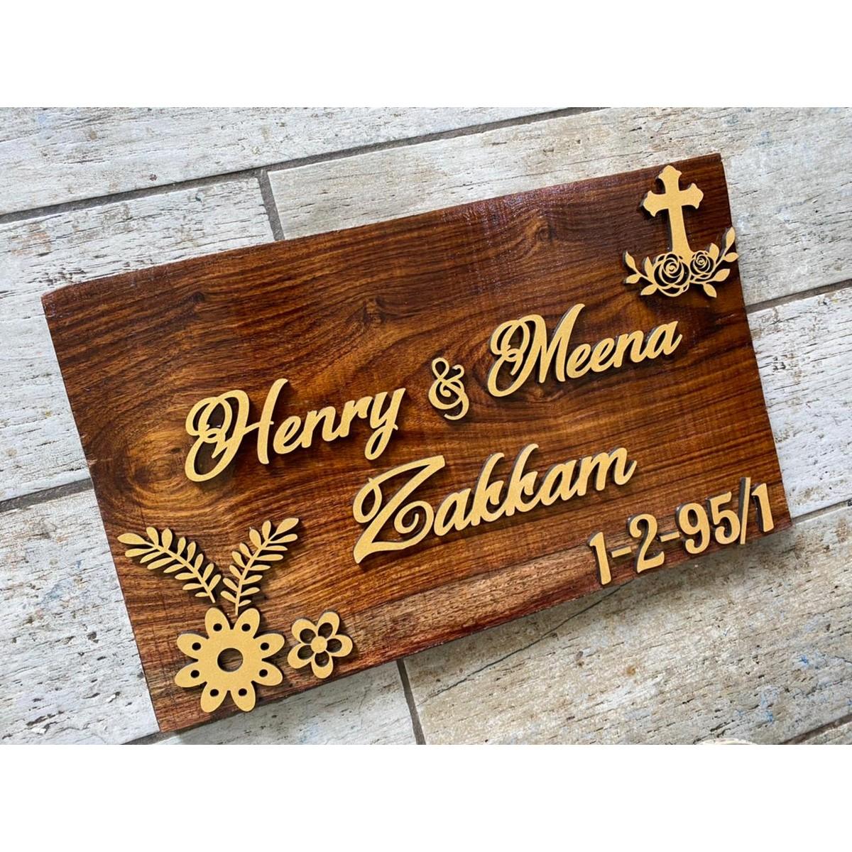 Sheesham Wood Nameplate For Christian Family