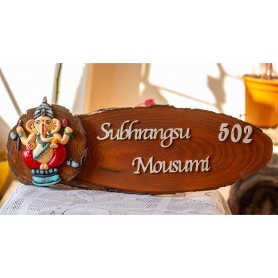 Ganesha Themed Dark Nameplate creative corner  Housewarming Gifts