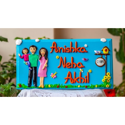 Couple themed family nameplate  Human Figure House Name Plates Customized for Family