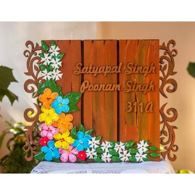 Floral nameplate for house  Hitchki Artwork Creative Corner floral nameplate