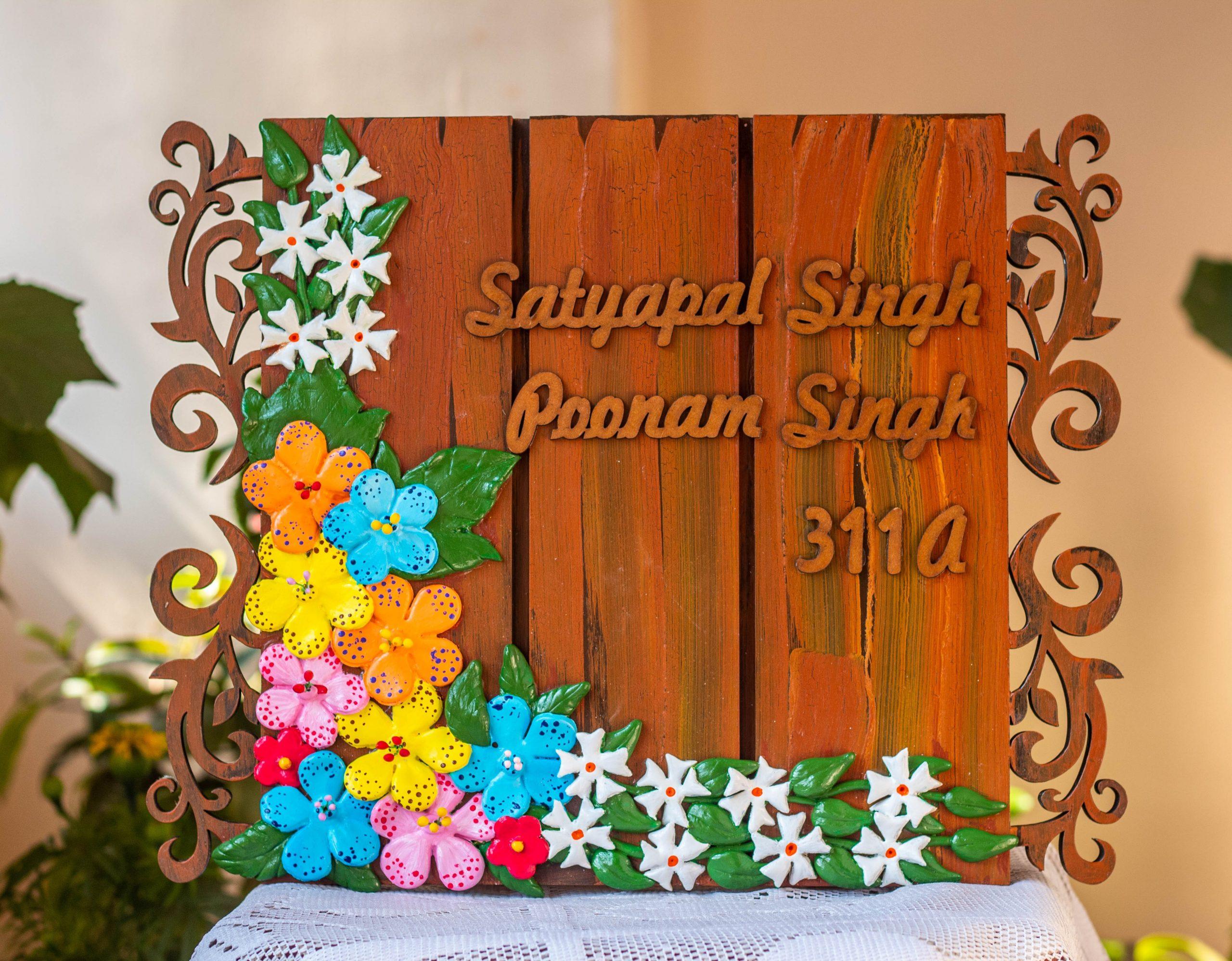 Personalized Wooden Nameplates In Jaipur Engraved nameplate Hitchki Artwork Creative Corner floral nameplate