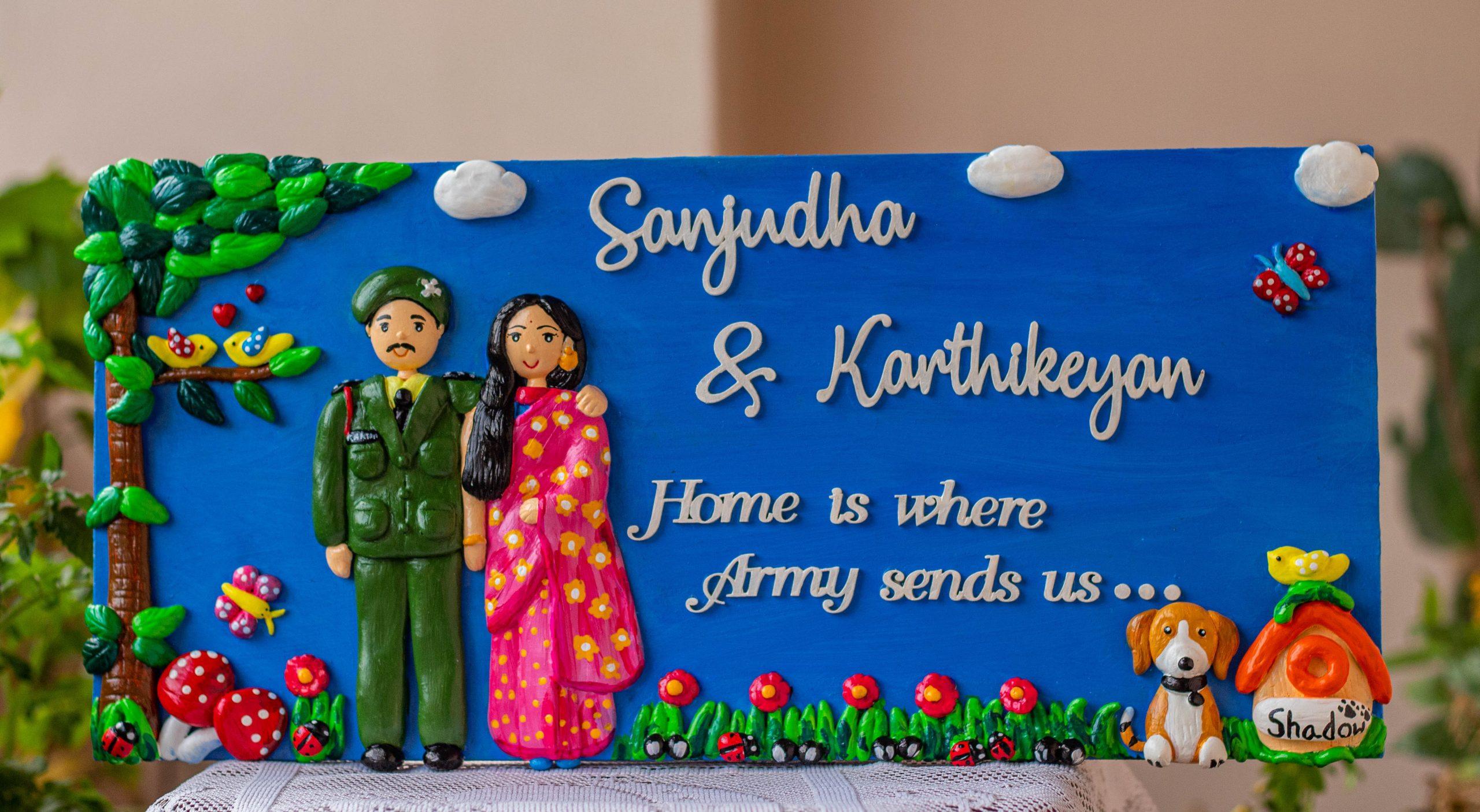Indian Army themed customized couple nameplate  Hitchki Creative Corner Artwork Army themed nameplate