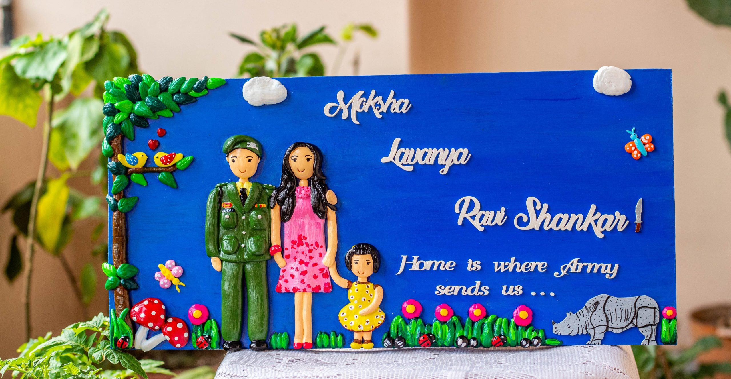 Customized Handcrafted Indian Army Themed Family Nameplate  Customized handcrafted Indian Army themed family nameplate creative corner