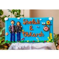 Customize couple themed nameplate creative corner