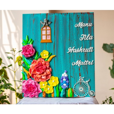 Customized Vintage Themed Floral Nameplate  Customized Nameplate Design