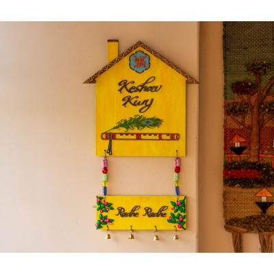 Hut shaped krishna themed nameplate  Hitchki Creative Corner Artwork ganesha nameplate