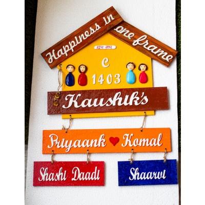 Customize Handmade Designer Big Family Nameplate  customize handmade designer big family plate Creative corner