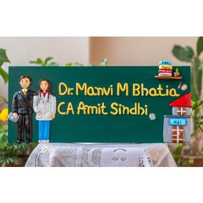 Doctor and CA themed couple nameplate  Wooden nameplate for home