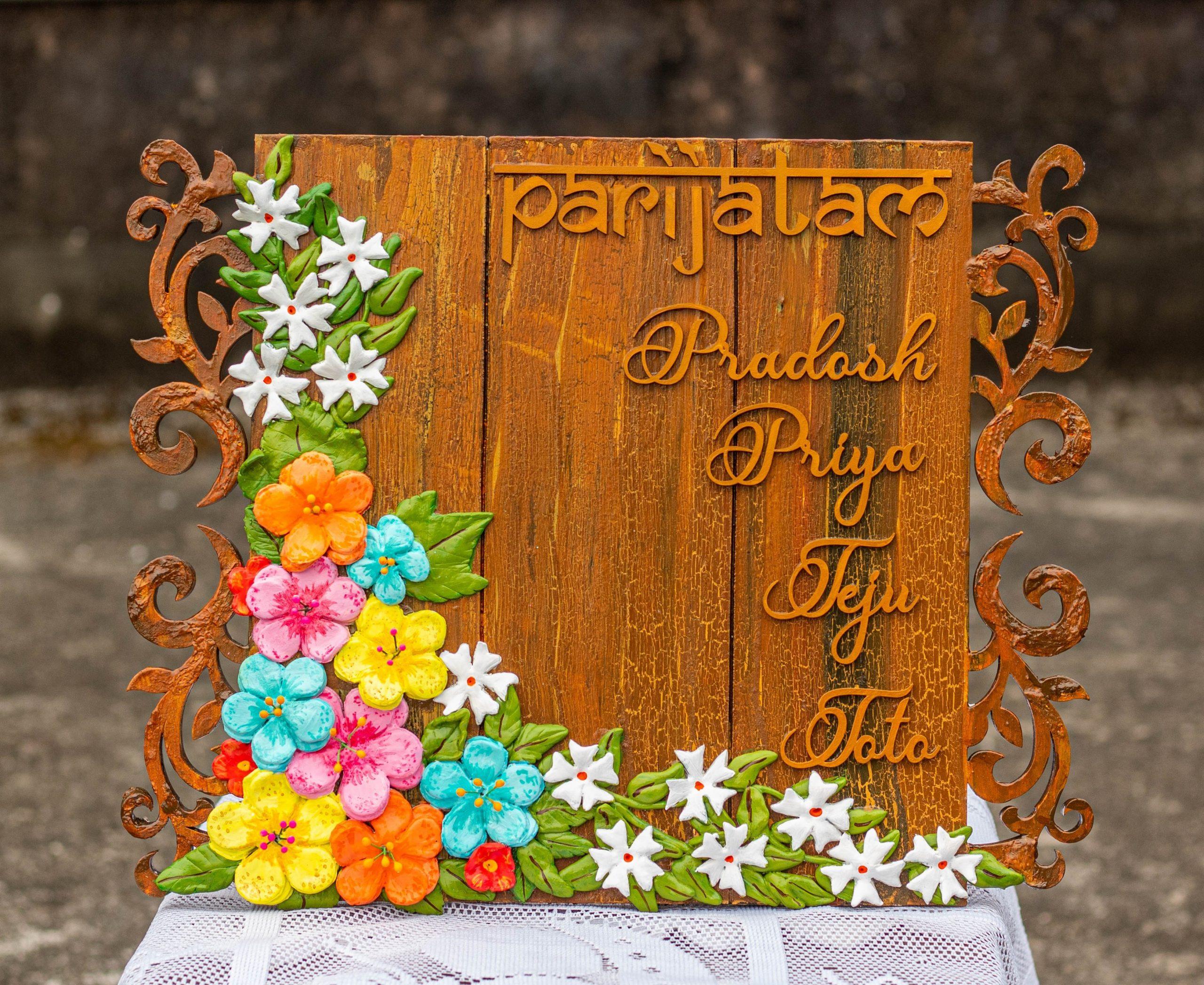 ParijatamFloral Themed Nameplate Creative Corner  Hitchki Creative Corner Artworks 1