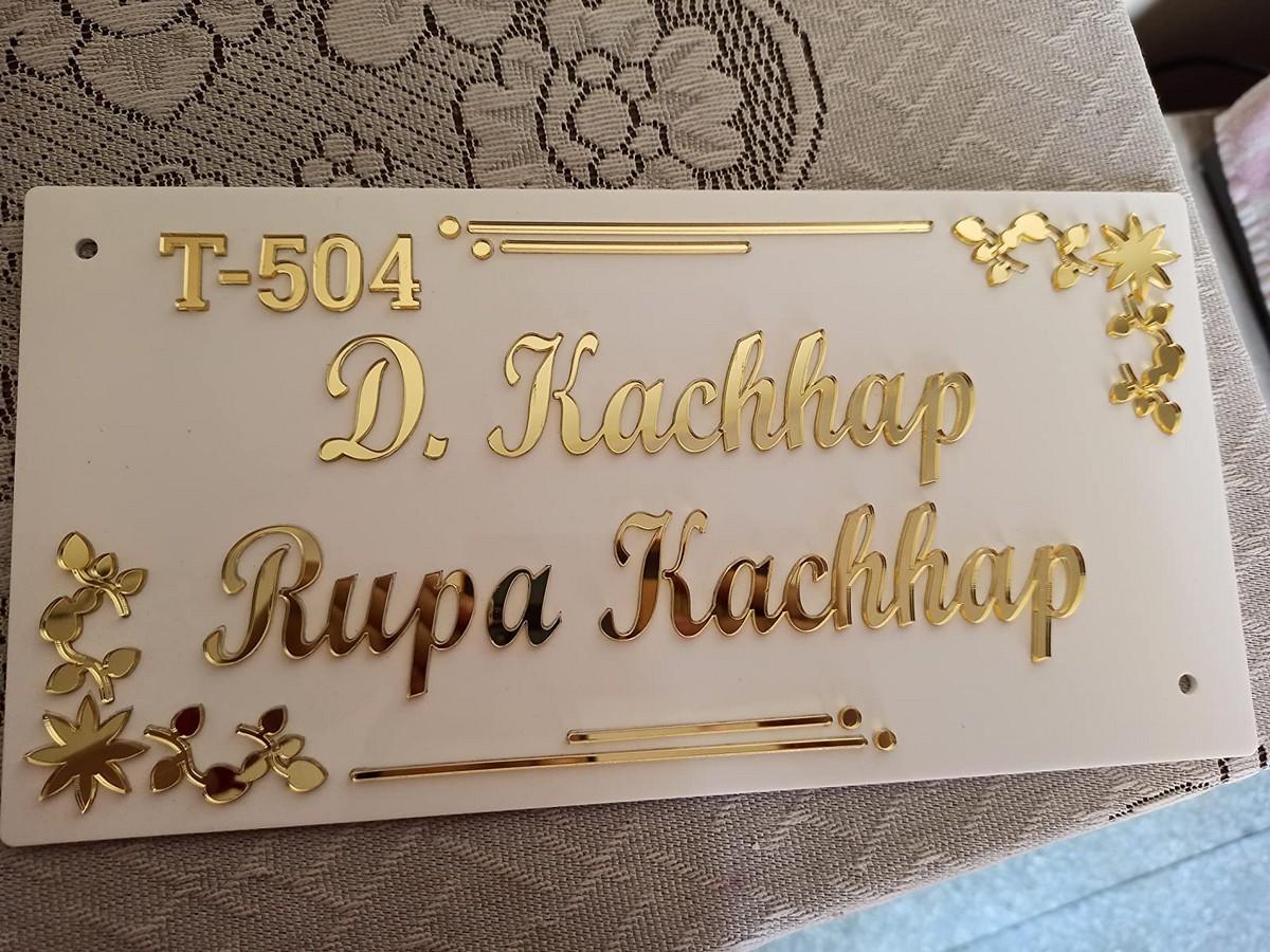 Home Door Name Plate  Golden Acrylic Solid Letters  Home Door Name Plate 3