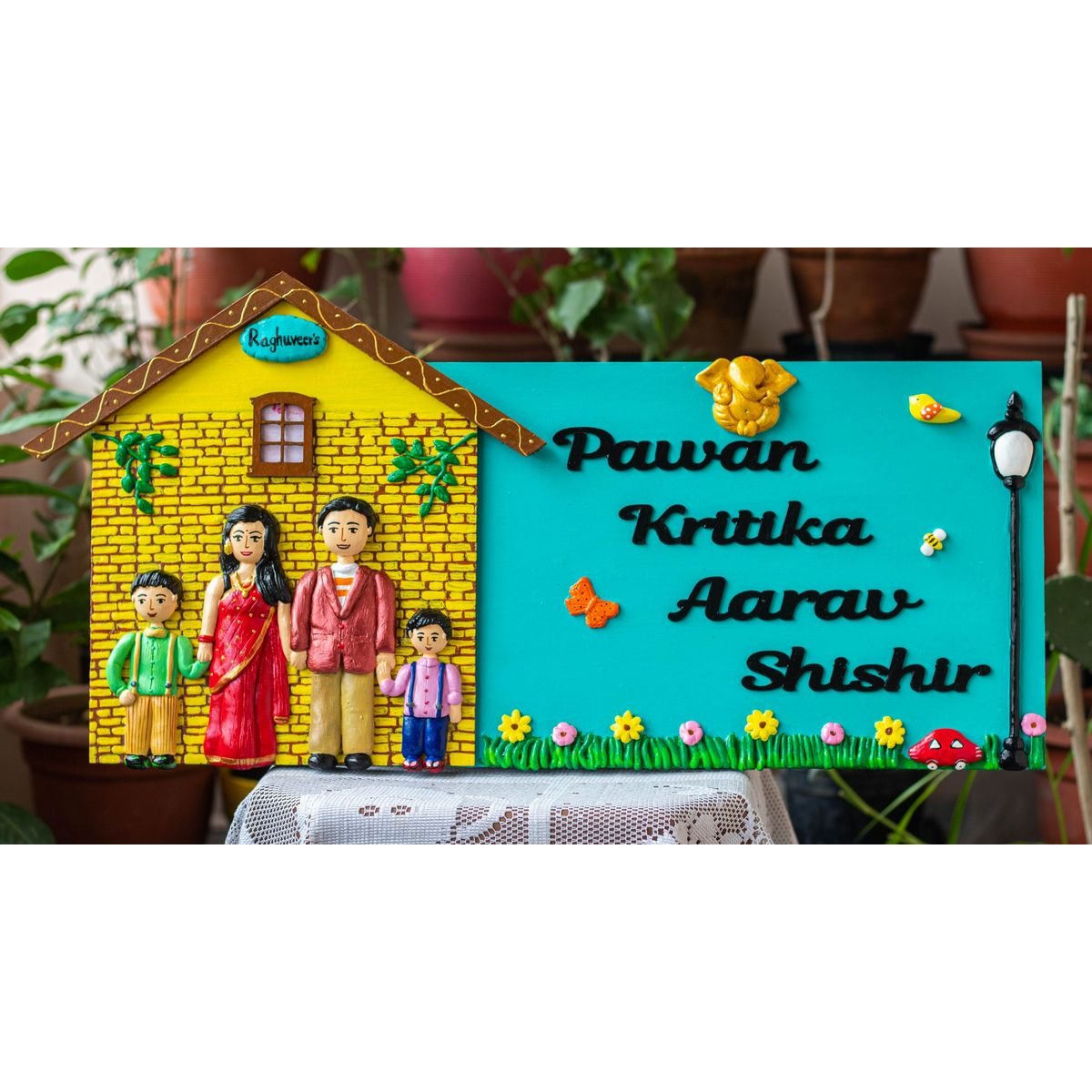 Handcrafted Customized Big Hut Shaped Happy Family Nameplate