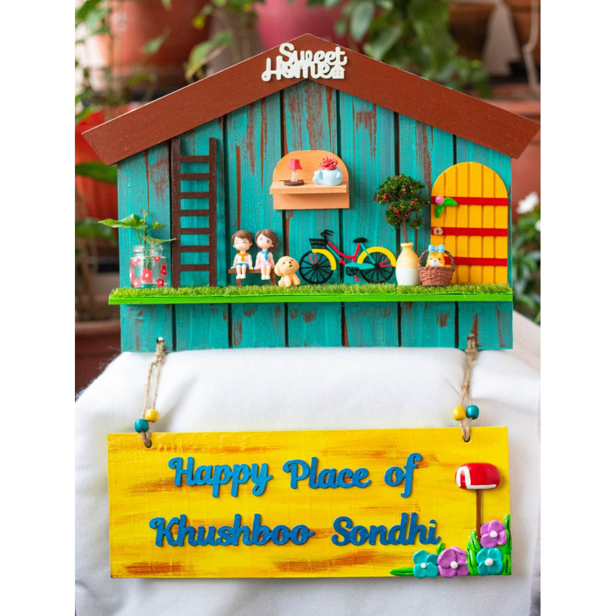 Hut Shaped Nameplate With Miniatures  Hut shaped nameplate