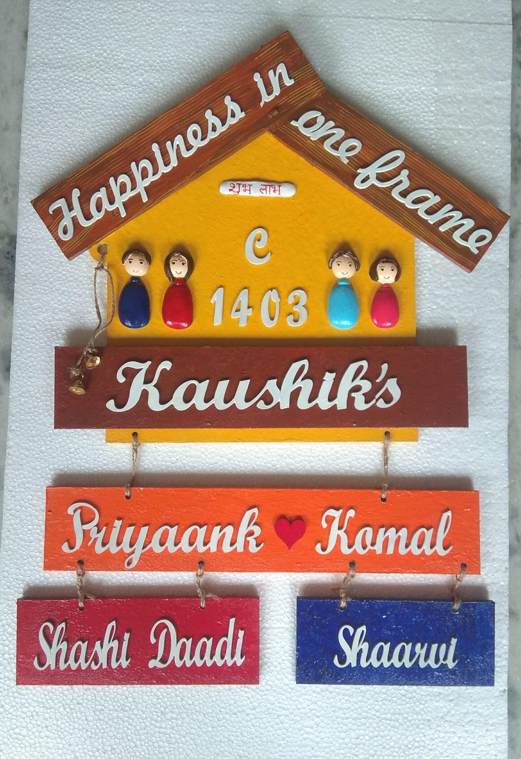 Customize Handmade Designer Big Family Nameplate  customize handmade designer big family plate