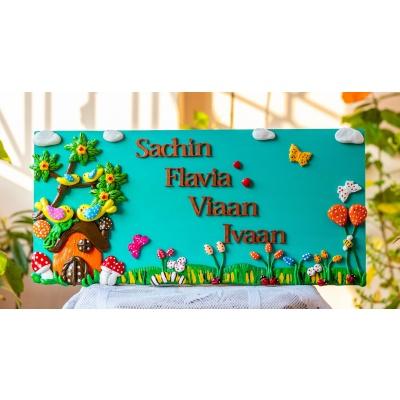 Beautiful nature themed customized family nameplate  Beautiful House Name Plates
