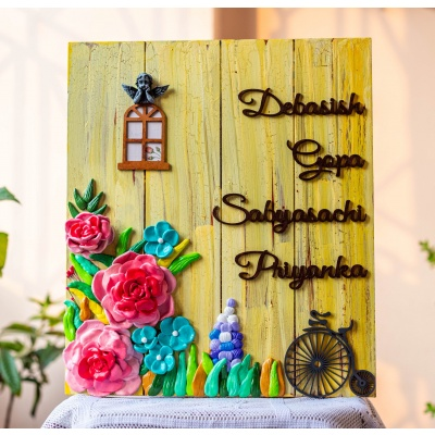 Customized Colourful floral nameplate  Housewarming gifts