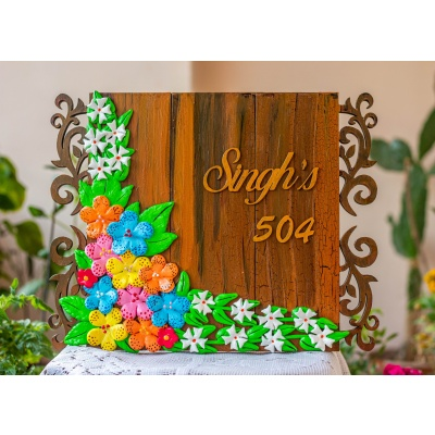 Customized Handcrafted Beautiful Floral House Nameplate  Customized wooden nameplate
