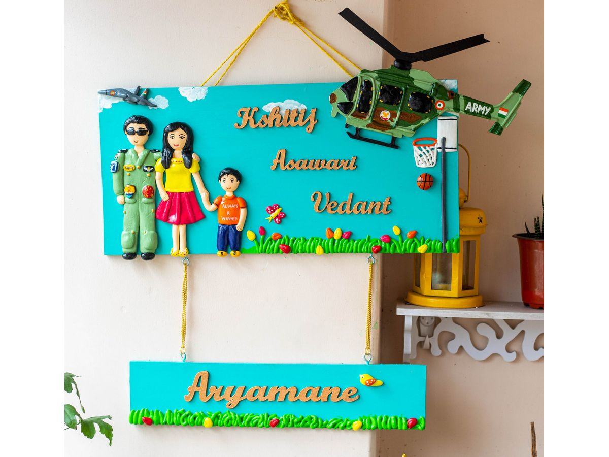 Indian Airforce Themed Family Nameplate  Indian Airforce themed family nameplate