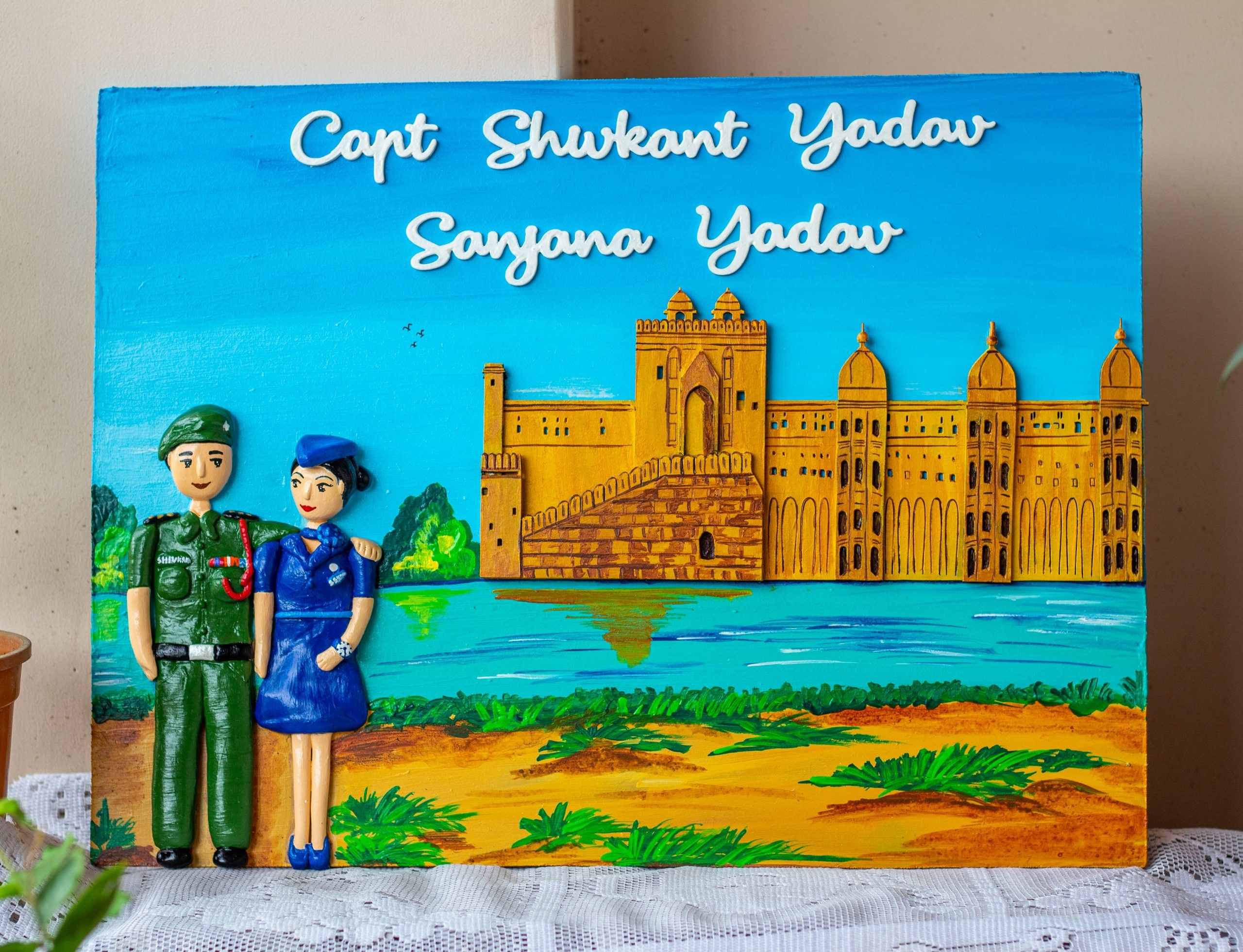 Indian Army and Air Hostess nameplate with fort