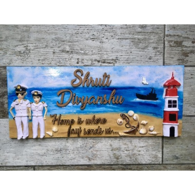 Best Unique Nameplate for Flat House or Office Near Me Hitchki Indian Navy Name Plate for Brave Couples